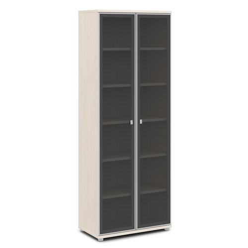 шкаф со стеклом в алюминиевом профиле v-611 дуб кобург