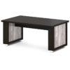 стол для переговоров L-102 Дуб Линдберг Темный и Бетон Пайн