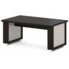 стол для переговоров L-102 Дуб Линдберг Темный и Серый Шелк