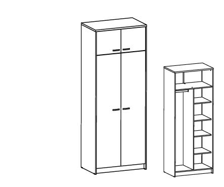 Шкаф комбинированный с антресолью Т-308