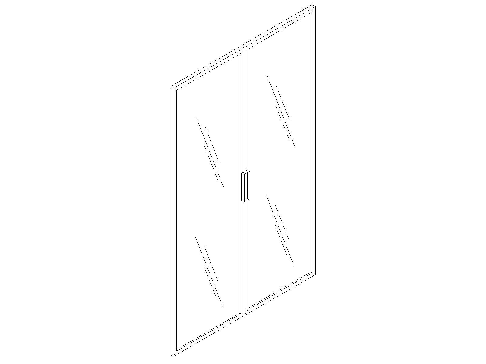 Двери стеклянные в алюминиевой раме низкие EDV411
