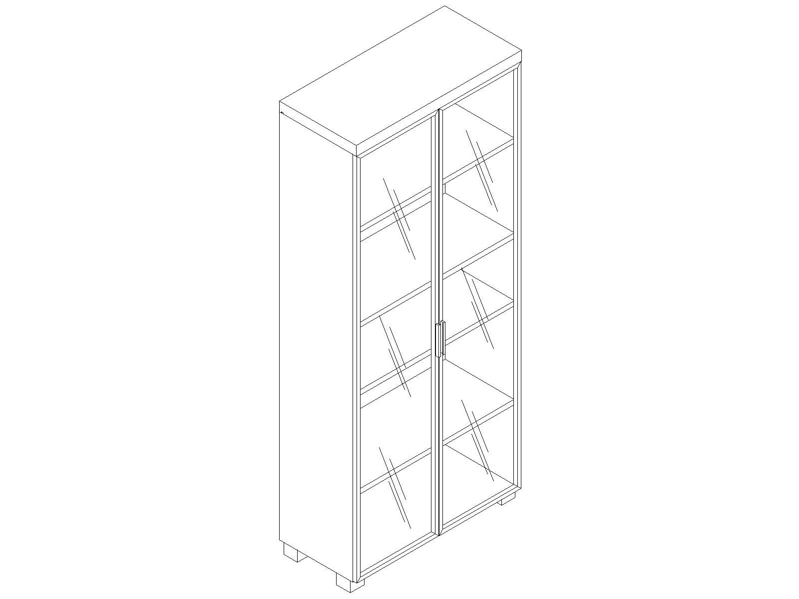 Шкаф высокий со стеклянными дверями EDV421