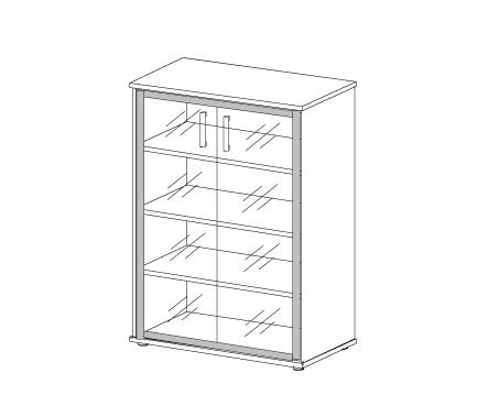 Шкаф со стеклом в алюминиевой раме Н-026