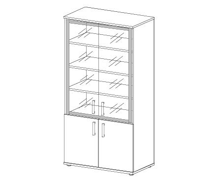 Шкаф со стеклом в алюминиевой раме Н-028