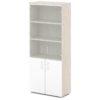 шкаф для документов S-614 белый дверки, каркас дуб верцаска светлый