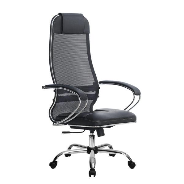 Кресло Metta SU-1-BK Комплект 5 черное / хром овальное сечение
