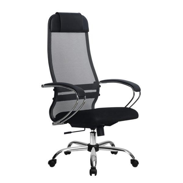 Кресло Metta SU-1-BK Комплект 18 черное / хром овальное сечение
